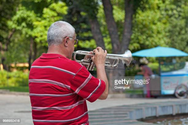 musician playing with his trumpet - gwengoat foto e immagini stock