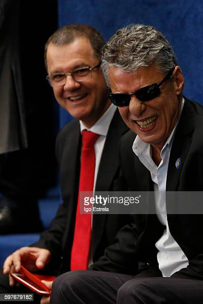 Musician playwright and Brazilian writer Chico Buarque attends the impeachment trial for suspended Brazilian President Dilma Rousseff on the Senate...