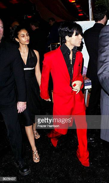 Musician Prince and second wife Manuela Testolini attend the Hollywood awards night viewing dinner and party benefiting Children Uniting Nations'...