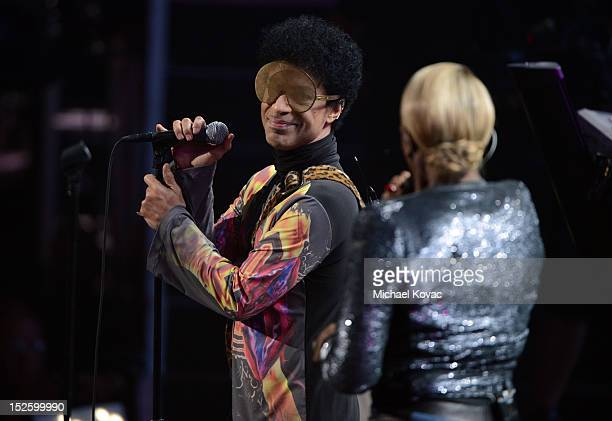 Musician Prince and singer Mary J Blige perform onstage during the 2012 iHeartRadio Music Festival at the MGM Grand Garden Arena on September 22 2012...