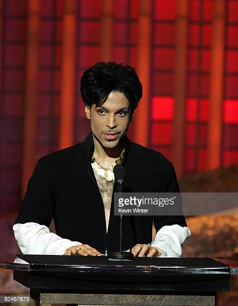 Musician Prince is seen accepting the Vanguard Award on stage at the 36th NAACP Image Awards at the Dorothy Chandler Pavilion on March 19 2005 in Los...