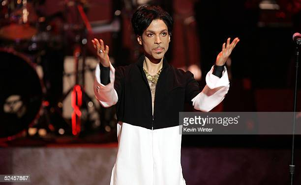 Musician Prince is seen on stage at the 36th NAACP Image Awards at the Dorothy Chandler Pavilion on March 19 2005 in Los Angeles California Prince...