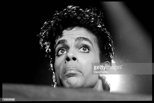 Musician Prince performing at Wembley Arena in August 14 1986 in London England