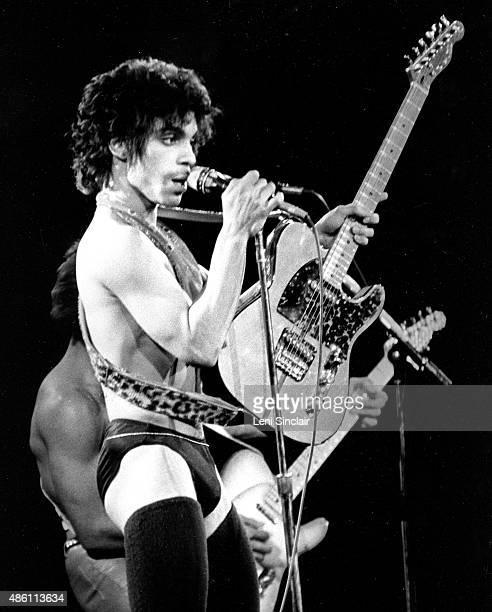 Musician Prince performs at Cobo Hall on December 20 1980 in Detroit Michigan