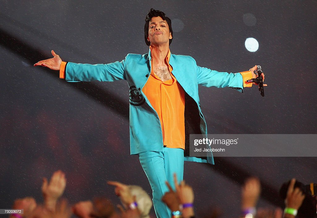 Musician Prince performs during the 'Pepsi Halftime Show' at Super Bowl XLI between the Indianapolis Colts and the Chicago Bears on February 4, 2007 at Dolphin Stadium in Miami Gardens, Florida.