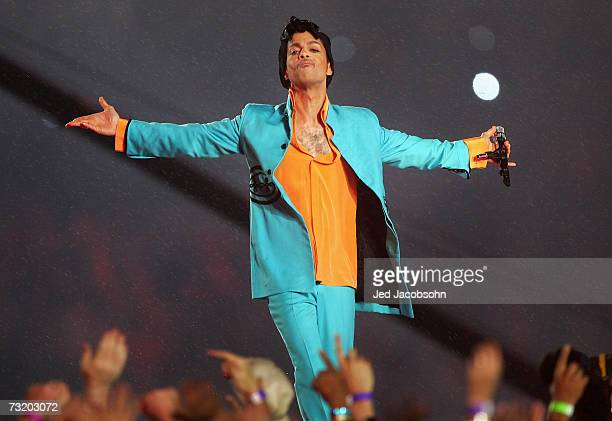 Musician Prince performs during the Pepsi Halftime Show at Super Bowl XLI between the Indianapolis Colts and the Chicago Bears on February 4 2007 at...