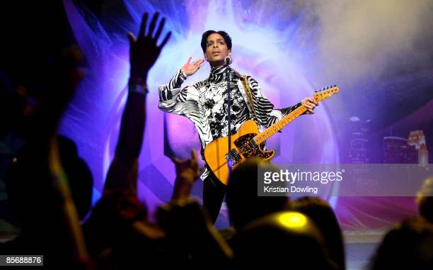 Musician Prince performs his first of three shows onstage during One Night Three Venues hosted by Prince and Lotusflow3rcom held at NOKIA Theatre LA...
