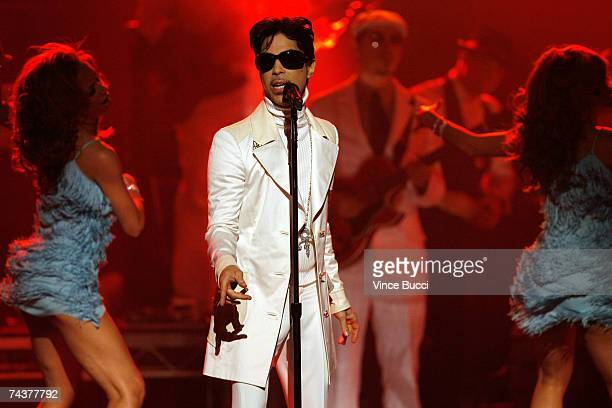 Musician Prince performs onstage during the 2007 NCLR ALMA Awards held at the Pasadena Civic Auditorium on June 1 2007 in Pasadena California