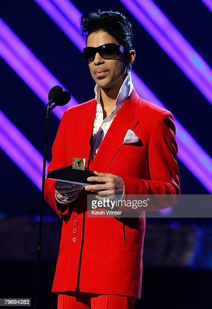 Musician Prince presents the Best Female RB Performance award during the 50th annual Grammy awards held at the Staples Center on February 10 2008 in...