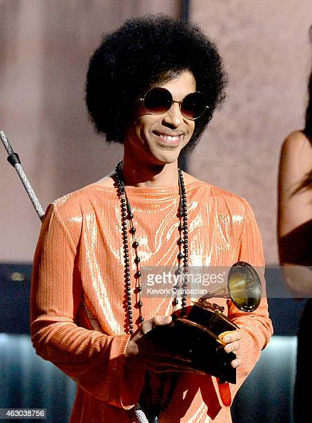 Musician Prince speaks onstage during The 57th Annual GRAMMY Awards at the at the STAPLES Center on February 8 2015 in Los Angeles California