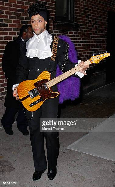 Musician Purple Rain visits Late Show with David Letterman at the Ed Sullivan Theater on November 17 2008 in New York City