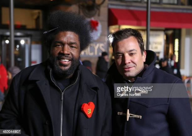 Musician Questlove and tv personality Jimmy Fallon attend rehearsals for the 87th Annual Macy's Thanksgiving Day Parade at Macy's Herald Square on...