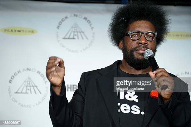 Musician Questlove attends the 29th Annual Rock And Roll Hall Of Fame Induction Ceremony at Barclays Center of Brooklyn on April 10 2014 in New York...