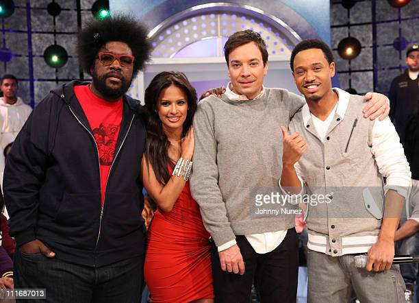 Musician Questlove of The Roots '106 Park' cohost Rocsi actor/comedian/TV personality Jimmy Fallon and '106 Park cohost Terrence J visit BET's '106...