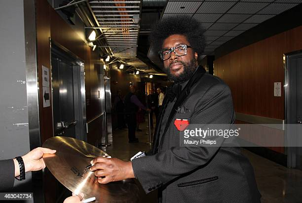 Musician Questlove poses backstage at the GRAMMY Charities Signings during The 57th Annual GRAMMY Awards at the STAPLES Center on February 8 2015 in...