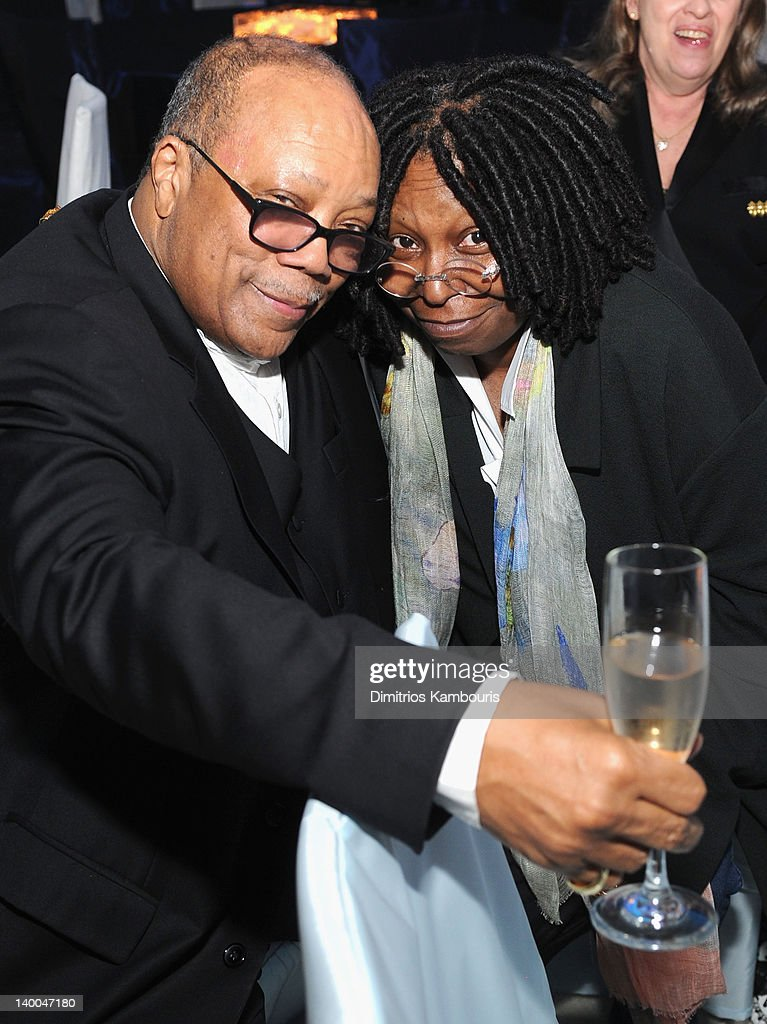 Musician Quincy Jones and actress Whoopi Goldberg attend the 20th Annual Elton John AIDS Foundation Academy Awards Viewing Party at The City of West Hollywood Park on February 26, 2012 in Beverly Hills, California.