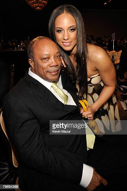 Musician Quincy Jones and Musician Alicia Keys during the 2008 Clive Davis PreGRAMMY party at the Beverly Hilton Hotel on February 9 2008 in Los...