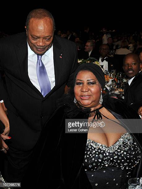 Musician Quincy Jones and Singer Aretha Franklin during the 2008 MusiCares Person of the Year Honors Aretha Franklin at the Los Angeles Convention...