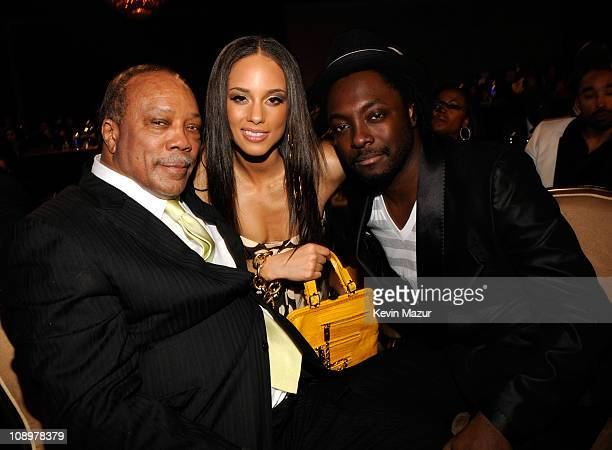 Musician Quincy Jones Musician Alicia Keys and Musician william during the 2008 Clive Davis PreGRAMMY party at the Beverly Hilton Hotel on February 9...
