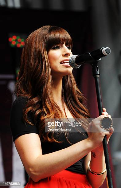Musician Rachel Reinert of the country band Gloriana performs during 'FOX Friends' All American Concert Series at FOX Studios on August 3 2012 in New...