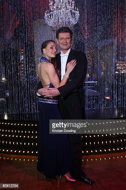 Musician radio and tv presenter Red Symons and professional dance partner Ana Andre pose together after the first show of season eight of Channel...