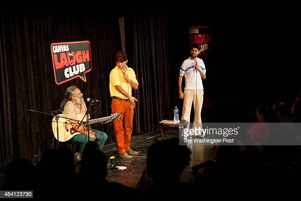 Musician Rahul Ram performs with standup comedians Sanjay Rajoura and Varun Grover in an act called AisiTaisi Democracy at the Canvas Laugh Club at...