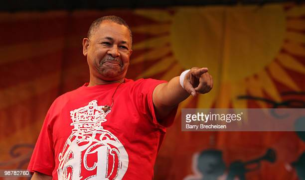 Musician Ralph Johnson of Earth Wind and Fire performs during day 5 of the 41st Annual New Orleans Jazz Heritage Festival at the Fair Grounds Race...