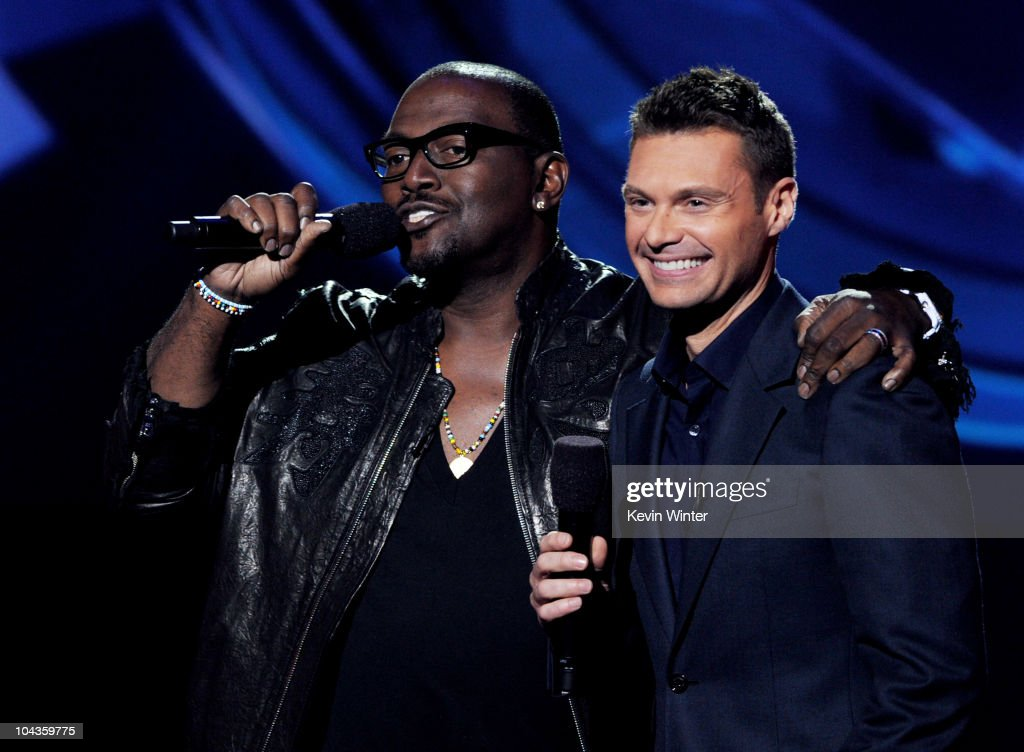 Musician Randy Jackson (L) and host Ryan Seacrest appear onstage at a press conference to officially announce the season 10 'American Idol' judges panel at The Forum on September 22, 2010 in Inglewood, California.