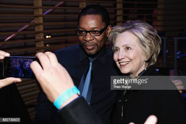 Musician Ravi Coltrane and Hilary Clinton attend The Nearness Of You Benefit Concert at Jazz at Lincoln Center on January 25 2017 in New York City