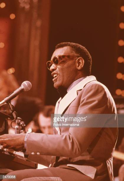 Musician Ray Charles performing on the television series 'Midnight Special' 1979