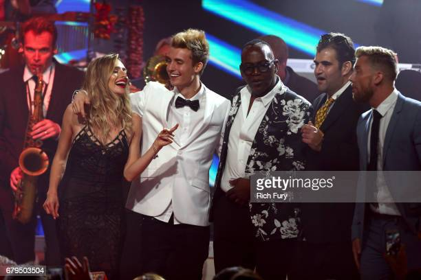 Musician Ray Herrmann Influencers Kirsten Collins and Christian Collins Musician Randy Jackson actor Jason Davis and TV personality Lance Bass are...