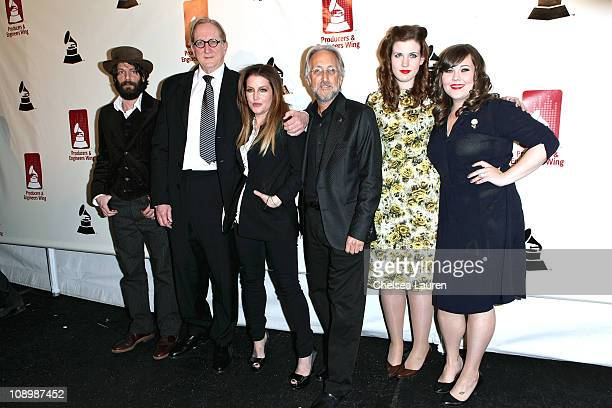 Musician Ray LaMontagne music producer TBone Burnett singer/songwriter Lisa Marie Presley President of the National Academy of Recording Arts and...
