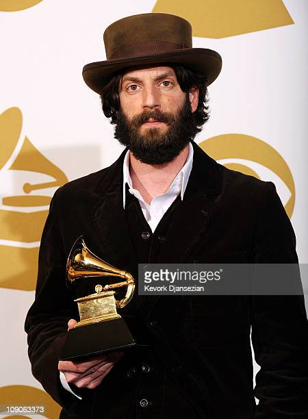"""Musician Ray LaMontagne , winner of the Best Contemporary Folk Album award for """"God Willin' & The Creek Don't Rise """" poses in the press room at The..."""