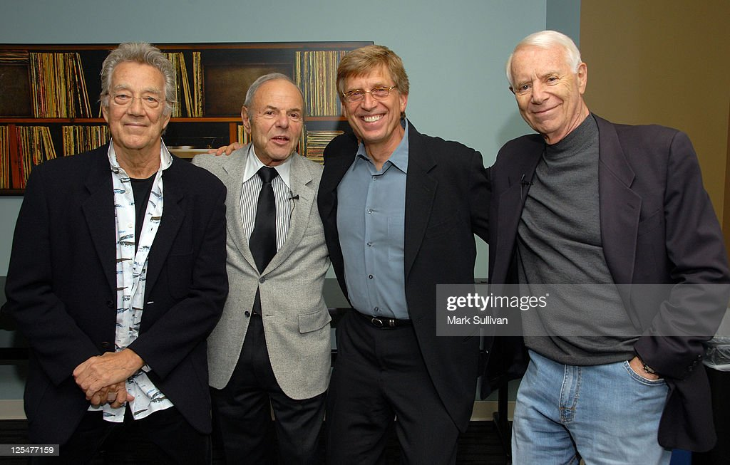 Musician Ray Manzarek of The Doors, former Warner Bros. Records President Joe Smith, executive director of The Grammy Museum Bob Santelli, and Elektra Records founder Jac Holzman attend An Evening With Jac Holzman at The GRAMMY Museum on November 8, 2010 in Los Angeles, California.