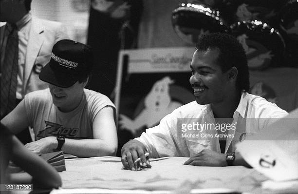 Musician Ray Parker Jr signs autographs at a Sam Goody record store to promote the release of his single Ghostbusters in 1984 in Los Angeles...