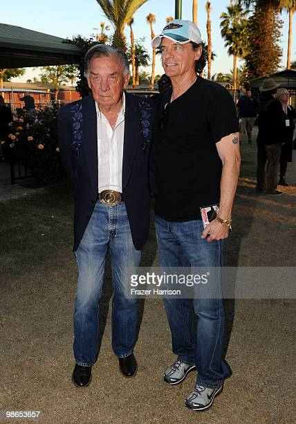 Musician Ray Price and singer BJ Thomas pose backstage during day 1 of Stagecoach California's Country Music Festival 2010 held at The Empire Polo...