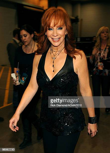 Musician Reba McEntire poses backstage during Brooks Dunn's The Last Rodeo Show at the MGM Grand Garden Arena on April 19 2010 in Las Vegas Nevada