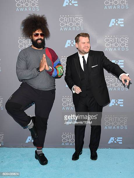 Musician Reggie Watts and tv personality James Corden attend the 21st Annual Critics' Choice Awards at Barker Hangar on January 17 2016 in Santa...