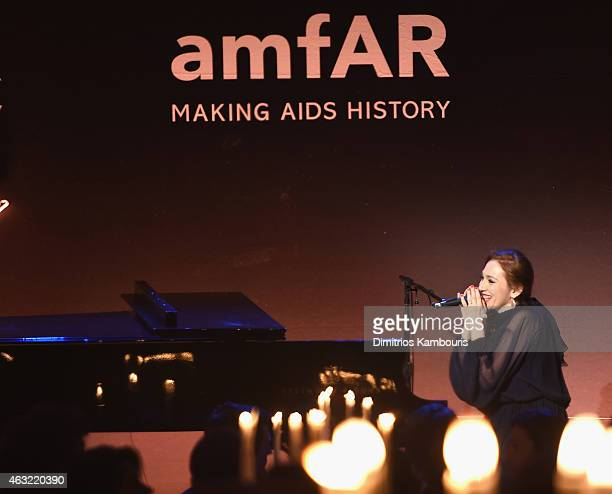 Musician Regina Spektor performs onstage at the 2015 amfAR New York Gala at Cipriani Wall Street on February 11, 2015 in New York City.