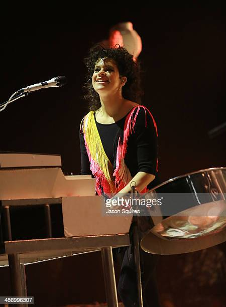 Musician Regine Chassagne of Arcade Fire performs at the Starlight Theatre on April 26 2014 in Kansas City Missouri