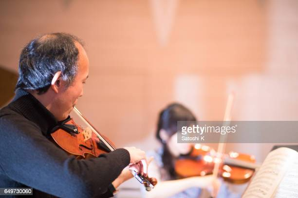 Musician rehearsing before the concert