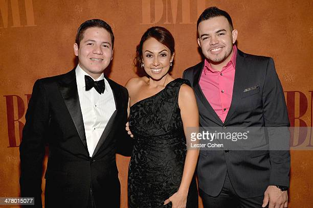 Musician Remmy Valenzuela, BMI Vice President, Latin Writer/Publisher Relations Los Angeles, Delia Orjuela and Javier 'Tamarindo' Gonzalez arrive at...