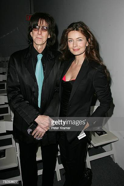 Musician Ric Ocasek and wife Paulina Porizkova attend the Michon Schur Fall 2007 fashion show during Mercedes-Benz Fashion Week at The Salon in...