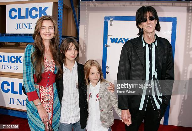 "Musician Ric Ocasek, wife Paulina Porizkova and their children arrive at Sony Pictures premiere of ""Click"" held at the Mann Village Theater on June..."