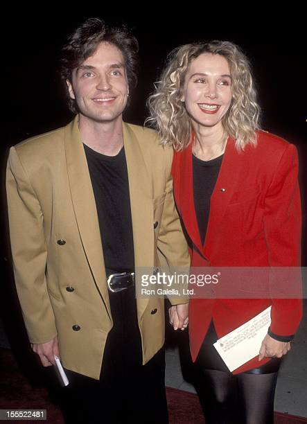 Musician Richard Marx and actress Cynthia Rhodes attend the Forever Young Beverly Hills Premiere on December 10 1992 at Academy Theatre in Beverly...