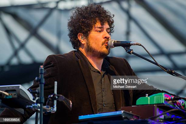 Musician Richard Swift of The Shins performs at Williamsburg Park on May 26 2013 in Brooklyn New York