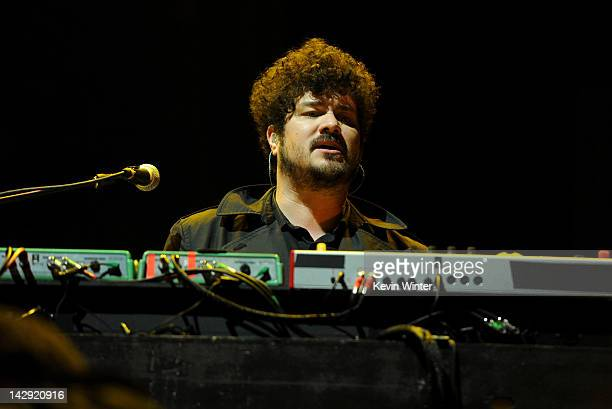 Musician Richard Swift of The Shins performs onstage during day 2 of the 2012 Coachella Valley Music Arts Festival at the Empire Polo Field on April...