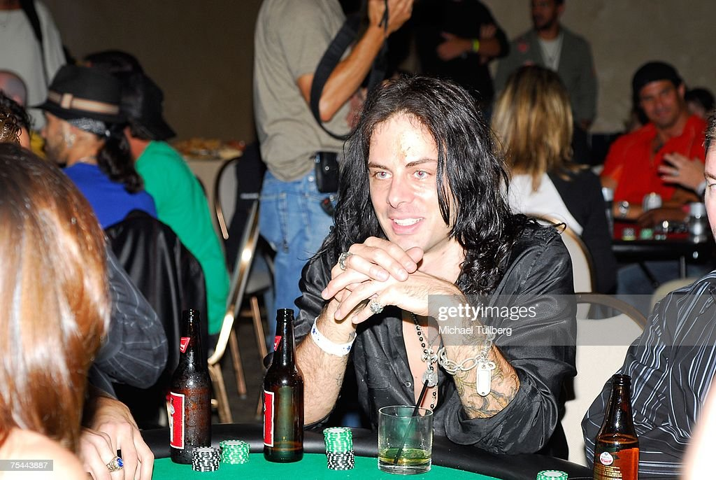 Musician Richie Kotzen waits for his cards at The Clear View Treatment Center's Charity Texas Hold'Em celebrity poker tournament, held at the Roosevelt Hotel on July 16, 2007 in Los Angeles, California.