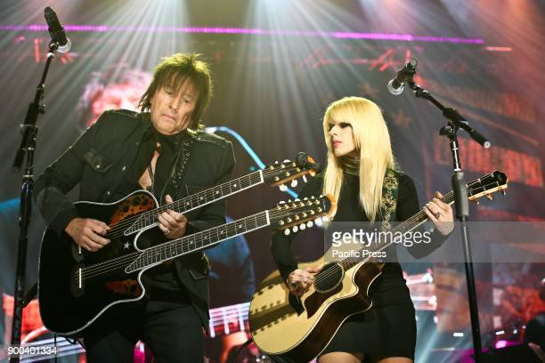 Musician Richie Sambora and Orianthi perform at America Salutes You and Wall Street Rocks Presents Guitar Legends For Heroes at Terminal