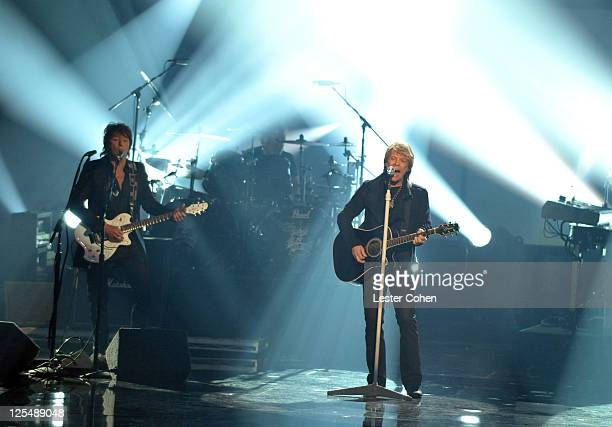 Musician Richie Sambora and singer Jon Bon Jovi of the band Bon Jovi perform onstage during the 2010 American Music Awards held at Nokia Theatre L.A....